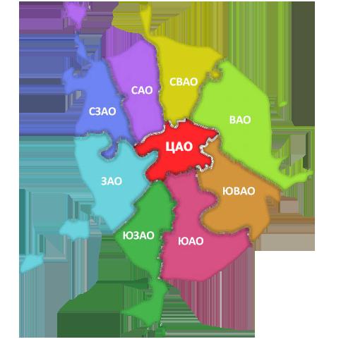 Карта отделений ГИБДД Москвы