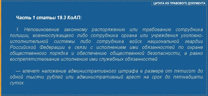 Часть 1 ст. 19.З КоАП РФ