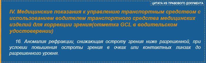 Перечень медицинских показаний к управлению ТС - отметка GCL