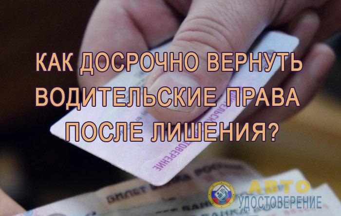 Как досрочно вернуть водительские права после лишения?