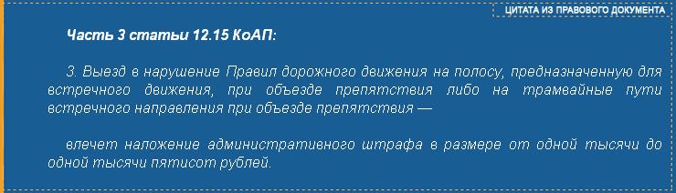 Часть 3 статьи 12.15 КоАП РФ