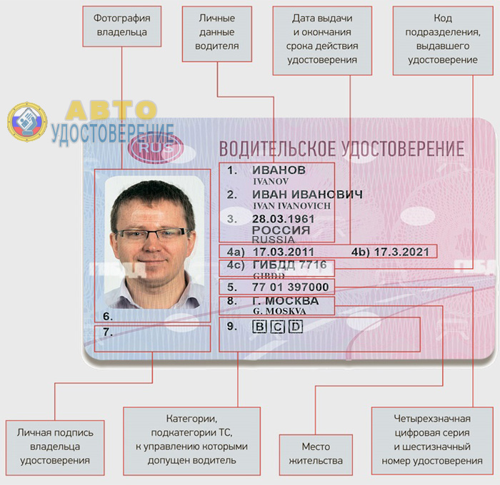 Описание водительского удостоверения нового образца