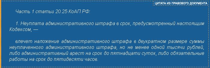 часть 1 ст. 20.25 КоАП РФ