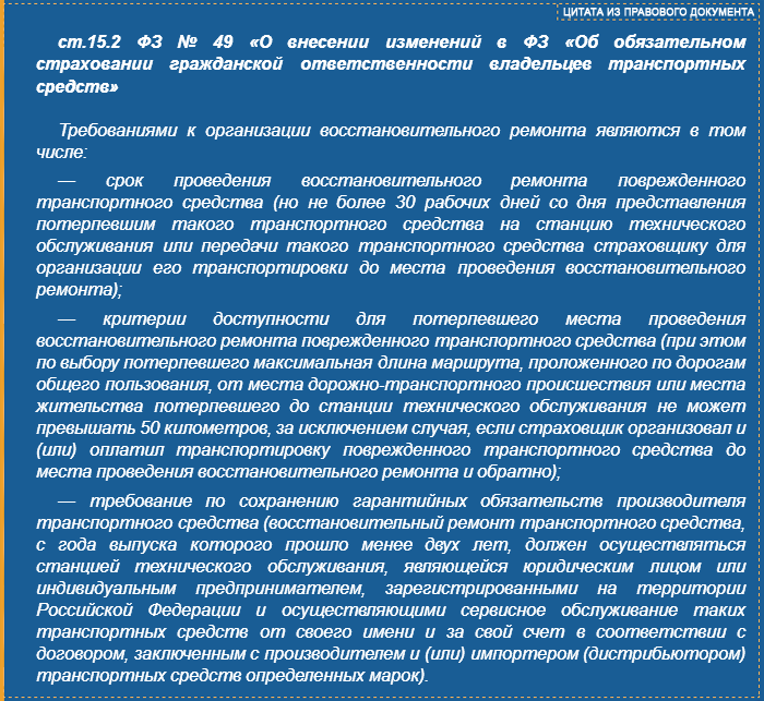ст.15.2 ФЗ-49 - изменения ОСАГО