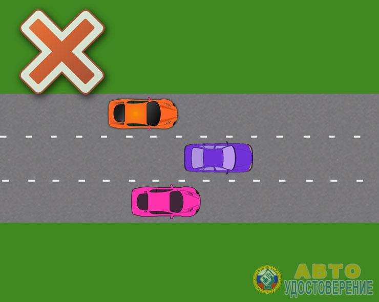 Трехполосная дорога с выездом на левую полосу