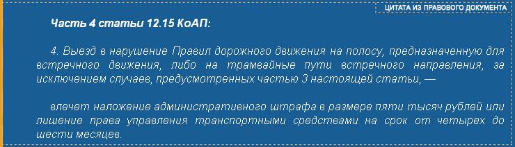 Часть 4 статьи 12.15 КоАП РФ